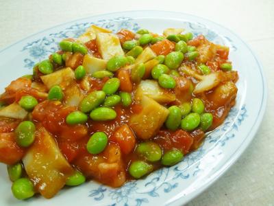 No.25030(料理25-038)さつまあげと枝豆のトマト炒め完成